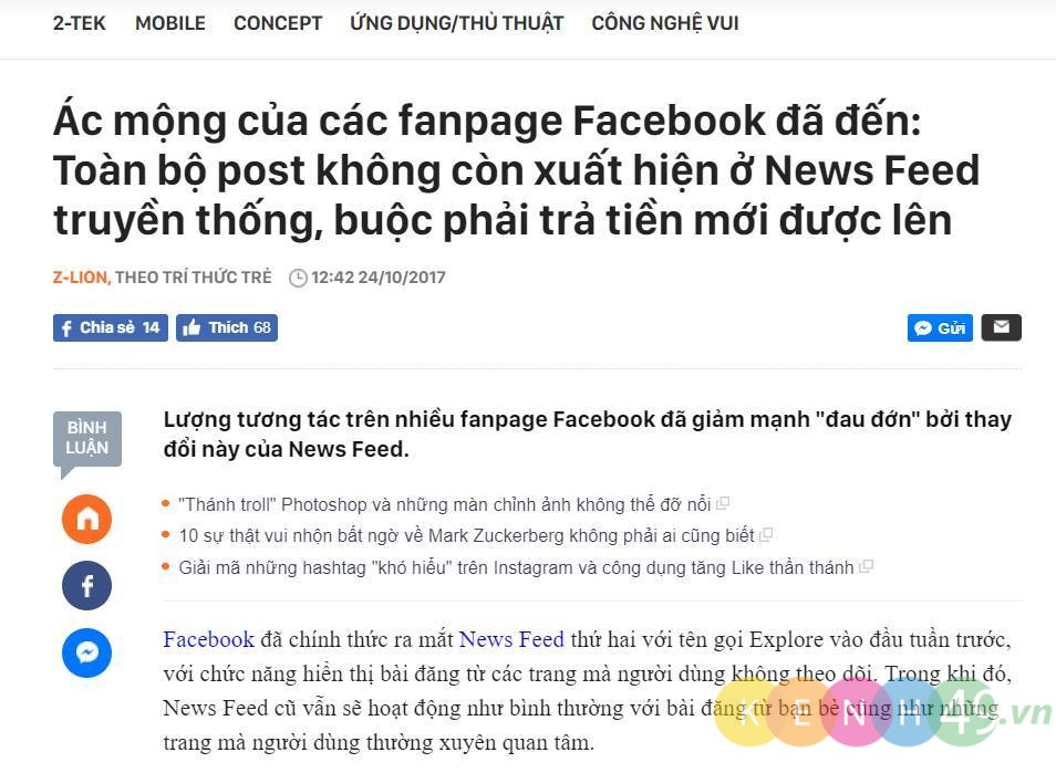 REACH NEWS FEED VỀ 0%