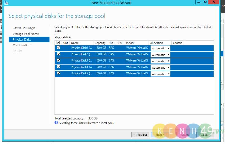 Cấu hình Redundant Storage Space trên Windows Server