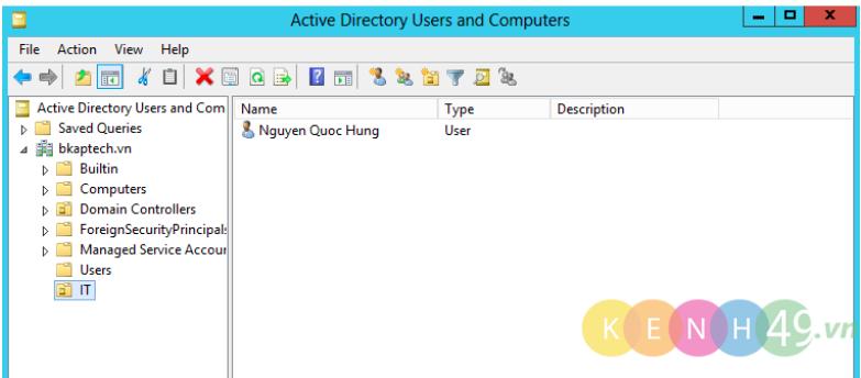 Tạo OU trên Server 2012