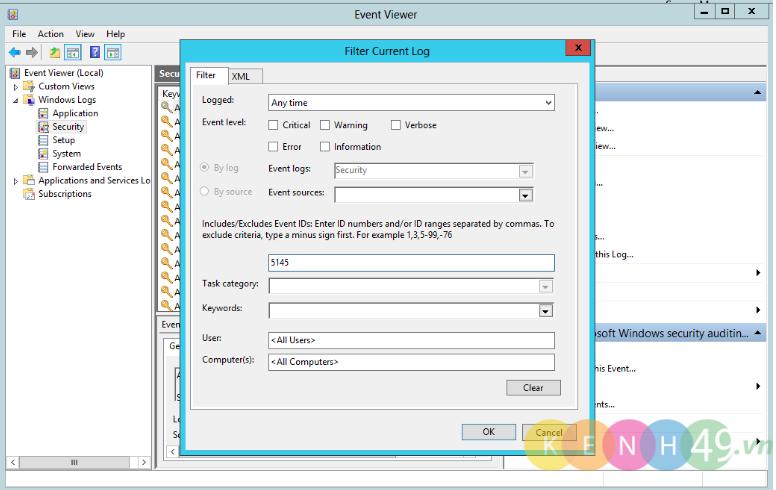 Giám sát tệp tin và bắt xóa file trên Windows Server 2012
