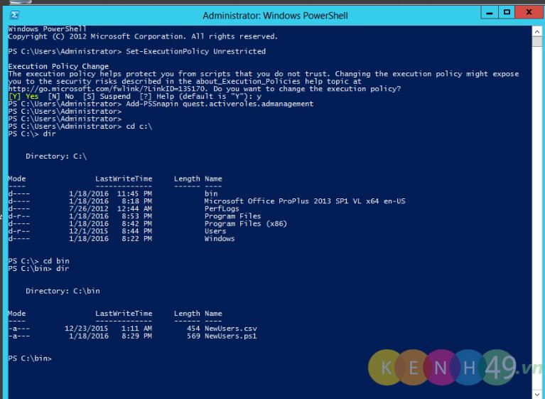 Sử dụng Powershell Script để tạo tài khoản số lượng lớn