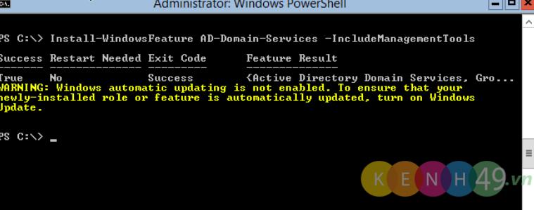 Nâng cấp Windows Server 2012 (Server Core) lên Domain