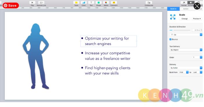 Tạo hoạt ảnh keynote