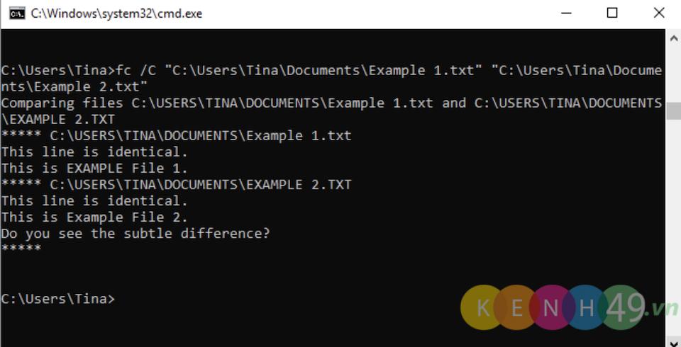 Lệnh CMD File Compare