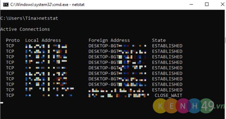 Lệnh cmd Netstat trong windows