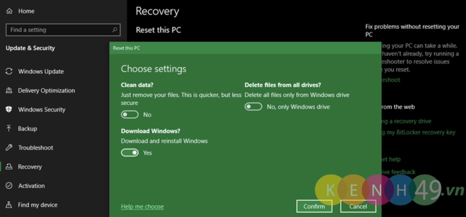 Khôi phục cài đặt windows 10