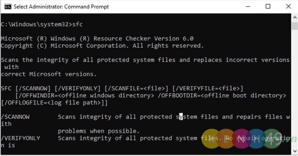 Lệnh CMD System File Checker
