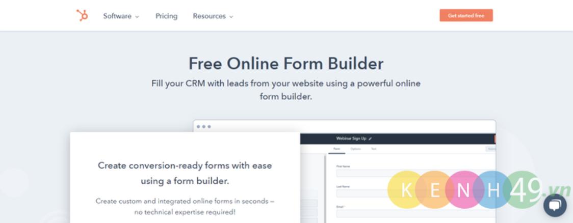 Tạo form online với HubSpot Free Online Form Builder