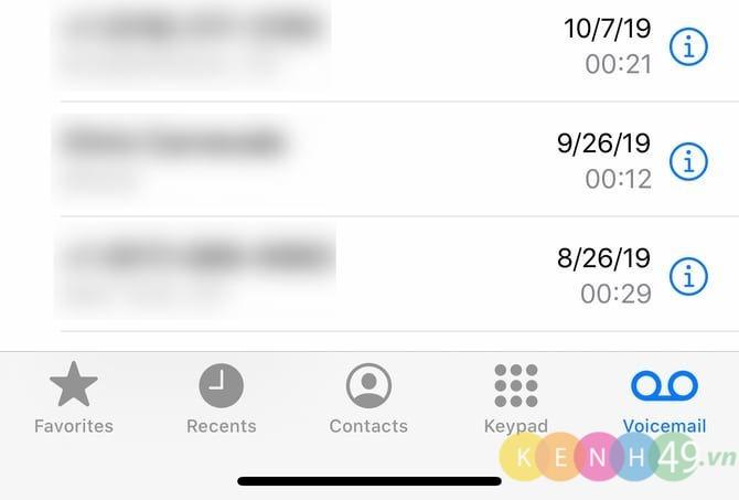 Ghi âm trên Iphone bằng Voicemail