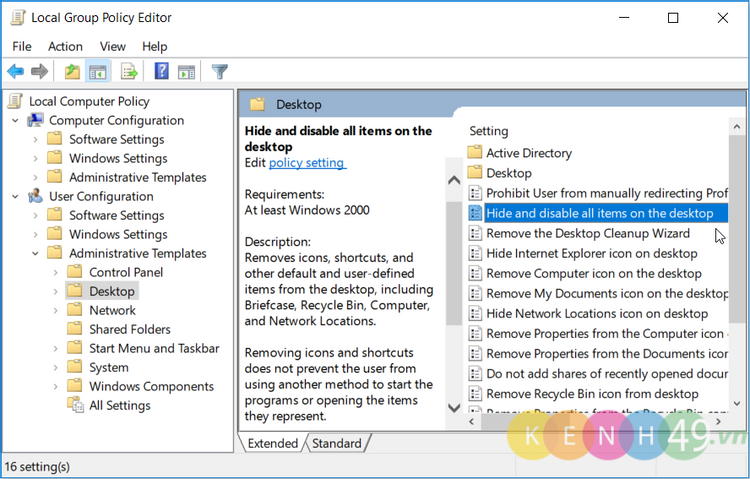 Ẩn icon desktop bằng local group policy