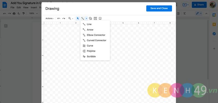 thêm chữ ký vào google docs bằng line tool