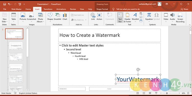 Cách thêm văn bản làm Watermark