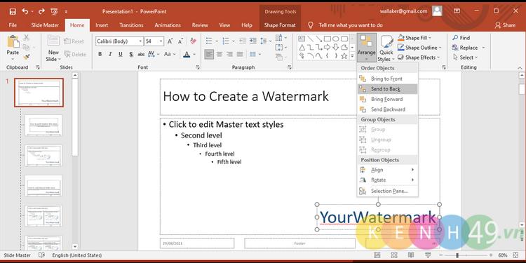 Tạo chữ kí bản quyền trong PowerPoint